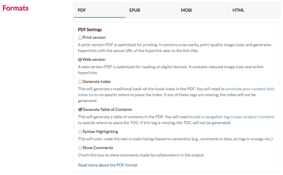 The options of the PDF format