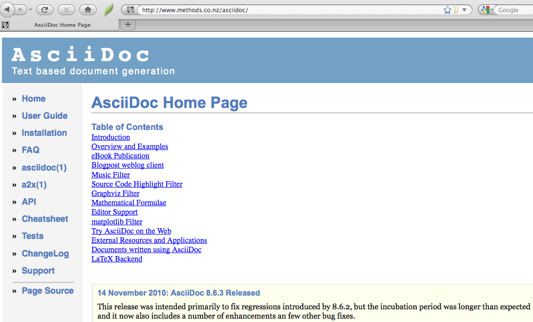 Screenshot of the AsciiDoc website.